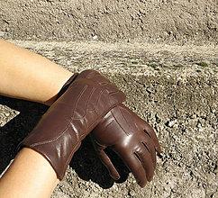 Rukavice - Výprodej - Hnědé dámské kožené rukavice s vlněnou podšívkou - 8781816_