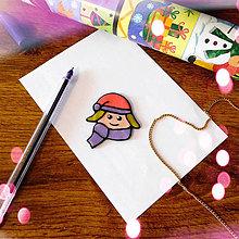 Magnetky - ★ Vianočná magnetka cartoon (dievča) - 8779476_