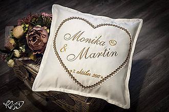 """Úžitkový textil - Svadobný vankúšik """" Monika a Martin"""" - 8786287_"""