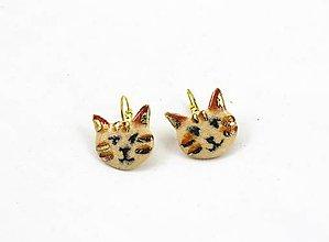 Náušnice - Naušničky - mačky  keramika/zlato - 8783737_