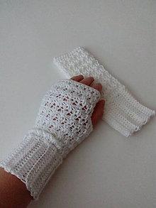 Rukavice - Biele bezprstové rukavice - 8784782_