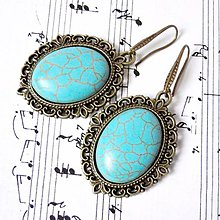 Náušnice - Vintage Tyrkenite Earrings / Visiace náušnice s tyrkenitom - 8785159_