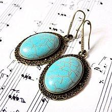 Náušnice - Vintage Tyrkenite Earrings / Visiace náušnice s tyrkenitom - 8786933_
