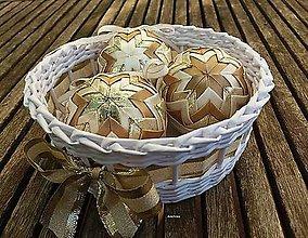 Dekorácie - Zlatisté vianočné gule  (3 guľky bez košíčka) - 8785297_
