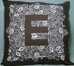 Úžitkový textil - Maľovaný vankúš s monogramom - 8787256_