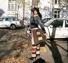 Sukne - lelovica , hnedo pinková súprava-sukňa, nákrčník a návleky - 8787364_