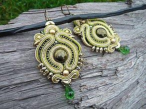 Náušnice - Soutache náušnice Luxury Orient zlato-zelené - 8785205_