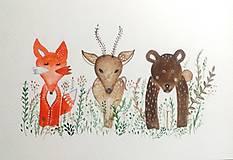 - Kamaráti lesné zvieratká ilustrácia /originál maľba - 8786558_