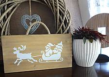 Dekorácie - Vianočná drevená tabuľka - 8783464_