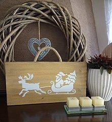 Dekorácie - Vianočná drevená tabuľka - 8783463_
