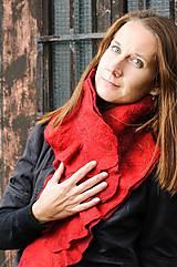 Šály - Červený vlnený šál, dvojvrstvový, merino vlna, plstený - 8782792_
