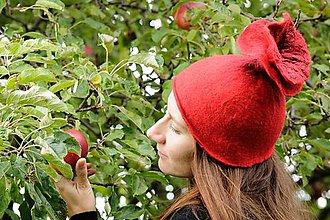 Čiapky - Červená plstená čiapka z Merino vlny, plstená - 8782719_