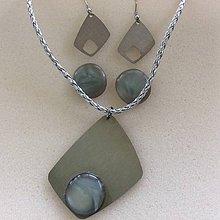 Sady šperkov - sada nerezových šperkov so šedou perleťou - 8785011_