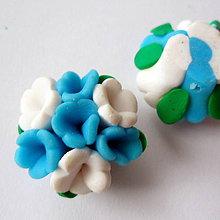 Korálky - FIMO kvet 25mm (modrá) - 8783922_