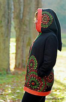 Mikiny - Dámska mikina s kapucou, vreckami, maľovaná, etno YESHE WALMO - 8782670_