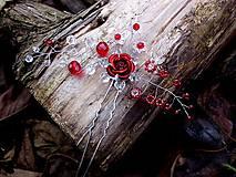 Ozdoby do vlasov - vlásenka - červená ruža - 8782904_