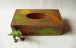 Krabičky - Zásobník na vreckovky Dino - 8785474_