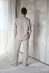 Oblečenie - Pánske ľanové pyžamo - 8782965_