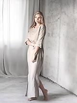 Pyžamy a župany - Dámska ľanová nočná košeľa (M/L) - 8783024_