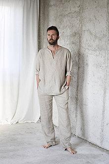 Oblečenie - Pánske ľanové pyžamo - 8782964_