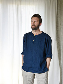 Oblečenie - Pánska ľanová košeľa na gombíky - 8783069_