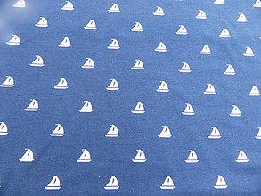 Textil - Úplet digitálny Biele loďky na tmavomodrej - 8782947_