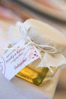 Darčeky pre svadobčanov - Medíky pre svadobčanov s originálnou visačkou  (agátový medík 120 g) - 8787671_