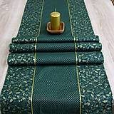 - Zlaté cezmíny a bodky na zelenej - set obrusov na objednávku - 8782394_