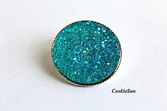 Náušnice - Glitter Turqoise (25mm) - 8786177_
