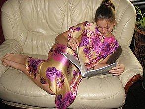 Pyžamy a župany - Hodvábna nočná košeľa (Na zapínanie v predu Viola) - 8785985_