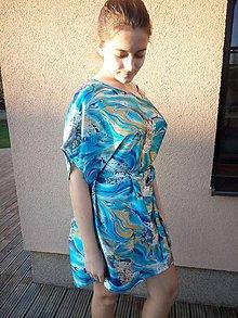 Pyžamy a župany - Hodvábna nočná košeľa (Bez zapínania Azur) - 8786046_