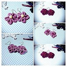 Náušnice - Kvetinové náušničky (Fialová) - 8787865_