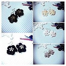 Náušnice - Kvetinové náušničky (Čierna) - 8787869_