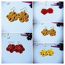 Náušnice - Kvetinové náušničky (Červená) - 8787871_
