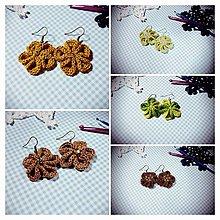 Náušnice - Kvetinové náušničky (Zelená) - 8787901_