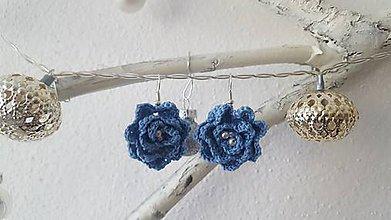 Náušnice - Náušničky ružičky (Modrá) - 8787912_