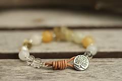 - Boho náramok z minerálov citrín, jadeit, krištáľ - 8784166_