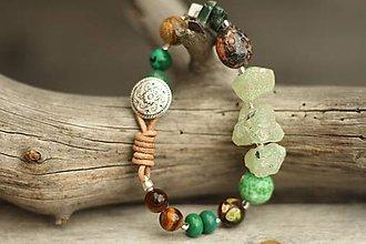 Náramky - Boho náramok z minerálov prehnit, achát, jaspis, tigrie oko - 8785842_