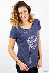 Tričká - Dámske tričko modrý melír KRÁSA V SRDCI - 8782581_