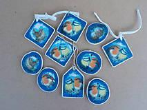 Dekorácie - Vianočné ozdoby-metalické modré - 8791233_