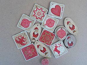 Dekorácie - Vianočné ozdoby -červené - 8791082_