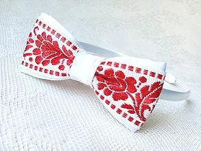 Ozdoby do vlasov - Slovak folklore headband (red/white) - 8793600_