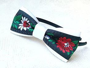 Ozdoby do vlasov - Slovak folklore headband (white/black) - 8793649_