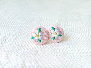 Náušnice - Flower earrings (pink) - 8793757_