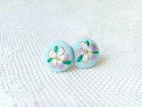 Náušnice - Flower earrings (baby blue) - 8793778_