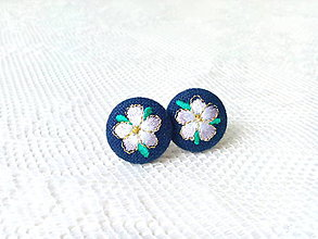 Náušnice - Flower earrings (dark blue) - 8793811_