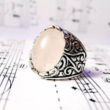 Prstene - Massive Rose Quartz Ring / Masívny vintage prsteň s ruženínom - 8788299_