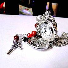 Náhrdelníky - Time for Fairies / Hodinky na retiazke s minerálmi a príveskom víly - 8788847_