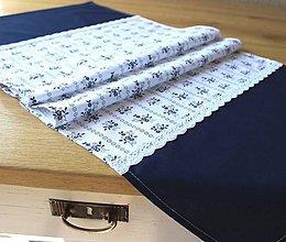 Úžitkový textil - štóla modrotlač Biela - 8794107_