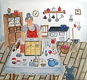 - Babička pečie ilustrácia / originál maľba - 8793486_